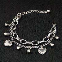 Women Charm Bracelets Stainless steel Link Chain Handwear Heart shaped Titanium steel double-layer Pendant Bracelets Jewelry Gifts 2970 Q2