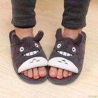 Tofflor Totoro Cartoon Plush Winter Couple Children's Lovely Home Chinchillas Non-Slip Sovrum Varma Skor