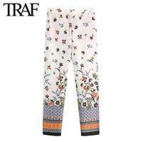 Женские брюки CAPRIS TRAF Женская одежда 2021 летняя старинная улица с высокой талией печать корейских модных брюк на молнии