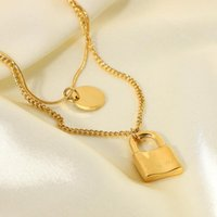 Pendant Necklaces Minar Classic Double-layer Gold Color Metal Lock Circle Coin Necklace For Women Girls Stainless Steel Jewelry