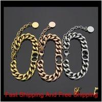 Fashiontitanium acier D Lettre simple bracelet épais couple couple épais rose or bracelet argenté pour femme Jsors zgwai