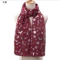 2021 New Hot silver Christmas Elk Snowflake print Scarf Scarf Christmas 70x180cm women's long scarf