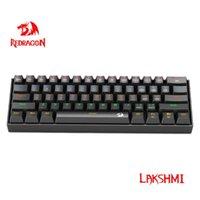 لوحات المفاتيح Redragon Lakshmi K606 rainbow usb الألعاب الميكانيكية لوحة المفاتيح الأزرق الأحمر التبديل 61 مفاتيح كابل قابل للفصل سلكي، محمولة للسفر