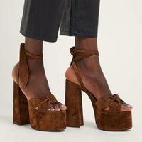 Sandals Sexy Super High Heels Women Fashion Party Platform Shoes Chunky Square Heel Ladies Peep-Toe Sandalias De Las Mujer