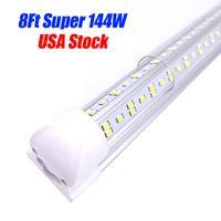 144W T8 LED أنبوب متكامل المصابيح الأنابيب ضوء v شكل استبدال أضواء متجر الإضاءة الفلورسنت باب متجر المرآب
