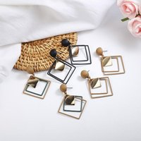 Stud 2021 Fashion Green Black Hollow Square Earrings For Women Ladies Girls Birthday Party Wedding Gifts Jewelry Wholesale