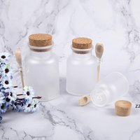 Buzlu Plastik Kozmetik Şişe Konteynırları Mantar Kapaklı Ve Kaşık Banyo Tuz Maskesi Toz Krem Ambalaj Şişeleri Depolama Kavanozları HWB9014
