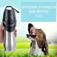 Botella de mascotas 750 ml de alta capacidad de seguridad portátil de acero inoxidable para perros de acero inoxidable botella de agua potable al aire libre Dispensador del tazón de perro del viaje