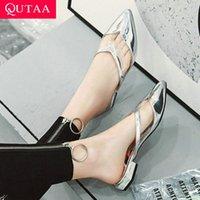Qutaa 2020 mujeres sandalias de moda puntiaguda puntada PU Plataforma de cuero cuadrado Tacón bajo las mujeres Bombas Sandalias Sandalias Tamaño 34 43 Cómodo Sho X9YT #