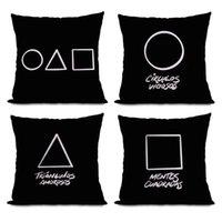 Squid Game Cushion Cover Geometric Pillow Cover Modern Pillow Case for Sofa Decor Pillowcase