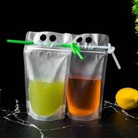 100PCS شرب شرب الحقائب أكياس متجمد سستة الوقوف حقيبة الشرب البلاستيكية مع القش مع حامل المعاد شاملة مقاومة للحرارة 17oz 500ml LLA468