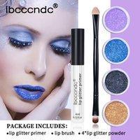 4 collore / set fai da te glitter Liquid Liquid Lift Shiny Lip Gloss Diamond Impermeabile Lunga durata Kit Lipgloss con gli occhi Spazzole labbra