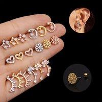 أزياء القلب مسدس ترصيع أقراط ثقب مجوهرات الفولاذ المقاوم للصدأ الكريستال الحلزون الغضروف أقراط ثقب الجسم المجوهرات