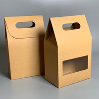 Gift Wrap 12Pcs 3 Style Kraft Paper Seal Packaging Bag With Handle Handmade Home Dessert Boxes PVC Window