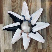 Hombres mujeres diseñador plano zapatos casuales 3m reflectante tres en uno de cuero blanco y negro con caja de cuero
