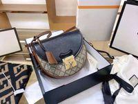 2021 Nouveau design design de haute qualité marque classique Crescent Saddle Sac, sac diagonal, coutures de fleurs noires et anciennes, taille: 24cm