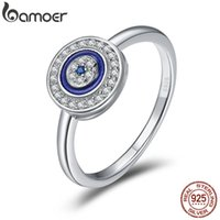 Bamoer Otantik 100% 925 Ayar Gümüş Şanslı Mavi Gözler Kadınlar Parmak Yüzük Düğün Nişan Takı Halka SCR208 210310