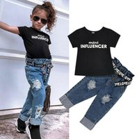 Clothing Sets 1-6Y Summer Toddler Kids Baby Girl Clothes Letter Tops T-Shirt Denim Pants Jeans Outfits