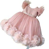 Los vestidos de la niña se rostro hicieron el rostro de la flor de la flor y el vestido de la madre con grandes flores hechas a mano ropa de fiesta de la fiesta de la fiesta de los vestidos de cumpleaños