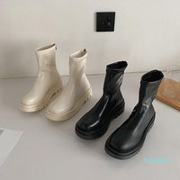 Сапоги женские резиновые осенние туфли круглые носки сапоги-женщины плоский каблук зимняя обувь дождь 2021 дамы рок-рок середина теленка середина теленка низкий