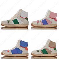 Screener in difficoltà High Top Sneakers Classic Luxurys Designer Scarpe Italia Pelle Sporco Chaussures Green Red Stripe Ace Casual Scarpe