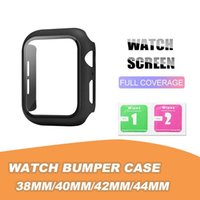 Matte Hard Watch Case with Screen Protector for Apple iwatch Series 5 4 3 2 1 Full Coverage Cases 38 40 42 44mm