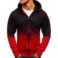 Men's Hoodies & Sweatshirts Autumn Men 3D Digital Printing Fashion Hoodie Gradient Color Coat Zipper Long Sleeve Loose