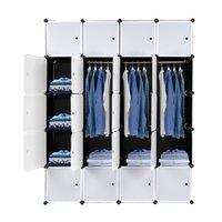20 مكعب منظم رفوف تخزين البلاستيك التكديس تصميم خزانة خزانة متعددة الوظائف وحدات مع شنقا قضيب الأبواب البيضاء والألواح السوداء