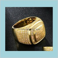 Personalized Jewelry Gold White Gold Plated Mens Diamond Iced Out Man Wedding Engagement Rings Square Pinky Ring For Men Gifts For Wxq Efv2X