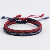 Pulseras de encanto Minimalista Budista Bugles Tibetanos Lucky para Mujeres Hombres Handcraft Cuerda Braidada Pulsera