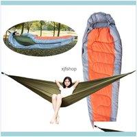 Sacos e Caminhadas Esportes Outdoorsdoor Set Muti-Funcional Envelope Destacável Hammock Hammock Dormindo Saco Preguiçoso Para Acampamento Viagem Dro