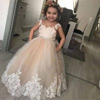 2021 لطيف الرباط زهرة الفتاة فساتين حفلات الزفاف الأميرة تول appliqued مطرز شاح الاطفال الطابق طول الفتيات ثياب مهرجان