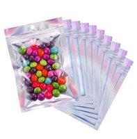 100 stücke wiederverschließbare mylar taschen holographische farbe multiple größe riechen protel klare zip lock food candy candy sags dfg