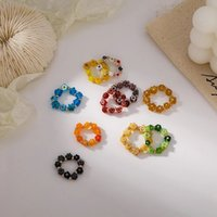 Vintage Acrylic Beaded Rings Cute Minimalist Coloful Beads Flower Stacked Finger Rings Stretch Rope for Women Party Gift Jewelry