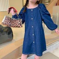 2021 새로운 어린이 옷 여자 슬림 아기 소매 데님 스커트 유아 공주 캐주얼 Jean Es 디자이너 브랜드 아이 의류 VQXB