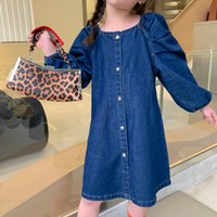 2021 New Children Clothes Girls Slim Baby Sleeve Denim Skirt Toddler Princess Casual Jean Es Designer Brand Kids Clothing Vqxb