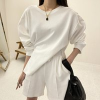 Women's Hoodies & Sweatshirts Summer Spring Women 2 Piece Set Long Sleeve Sweatshirt Sweatshorts Loose Casual Tracksuit Loungewear