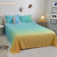Sheets & Sets Macaron Candy Gradient Color Girly Heart Home Bedroom Dormitory Bedding 3pcs Set 1bed Sheet+2case King Queen Size J8645