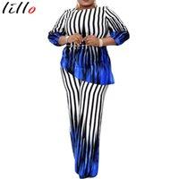 Kadın Eşofmanlar Afrika Giyim Kadınlar Için 2 Parça Kıyafetler Gevşek İki Parçalı Set Dikey Çizgili Kollu Düzensiz Bluz Geniş Bacak