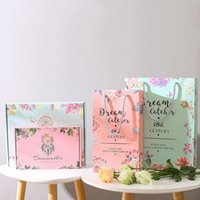 Gift Wrap Monternet Flower Pattern Small Paper Bags With Handle Wedding Birthday Party Boxes Xmas Year Anniversary Packaging Bag