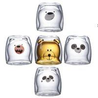 Cute Christmas Tree Mug Double Wall Glass Coffee Cups with Silocone Lid Snowflake Star Xmas Gift Wine Tea Milk Water Tumbler OWB7526
