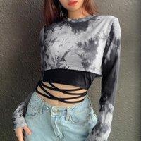 Women's T-Shirt Summer Women Y2K Tie Dye Crop Top Long Sleeve O-Neck Short + Lace-Up Black Vest 2Pieces Street Punk Pullovers Clothes
