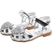 Sandalias Sandalias Niños Niños Niñas Princesa Heart Hollow Cut-Outs Roman Beach Zapatos Sandale Fille Para Niños