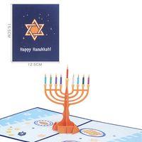 Happy Hanukkah 3D всплывающие карты празднование Chanukah Menorah поздравительная открытка еврейский фестиваль света подарок складной подсвечник вечеринка орнамент L805WK