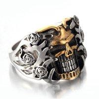 Vigselringar Unik Vintage Skull Silver Färg Fashion Ring Mens Biker Rock Roll Gothic Punk Smycken Gift