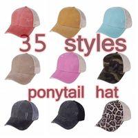 Ayçiçeği At Kuyruğu Şapkaları 35 Renkler Yıkanmış Örgü Dağınık Bun Camo Leopar Beyzbol Şapkası Açık Spor Trucker Şapka CCA
