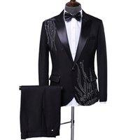 Мужская стильная пачка горный хрусталь дизайн костюм сценический певец свадебный жених костюм мужчины костюм Homme черный белый терномакулино