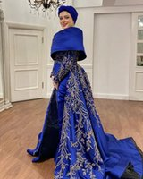 2021 Plus Size Arabic Aso Ebi Muslim Luxurious Royal Blue Prom Dresses Lace Beaded Stylish Satin Evening Formal Party Second Reception Gowns Dress ZJ527