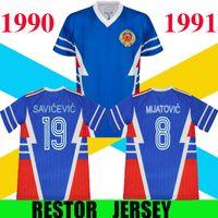 1990 1991 Coupe du Monde de Jersey de football rétro Yougoslavie N ° 19 Mijatovic N ° 19 Savicevic Vintage Classic 90 91 Shirts de football Thaï Qualité S-2XL