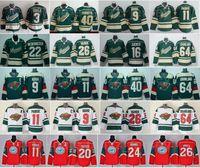 Hockey sobre hielo Minnesota Wild 20 Ryan Suter Jersey 11 Zach Parise 22 Kevin Fiala 24 Matt Dumba 26 Thomas Vanek 29 Jason Pominville